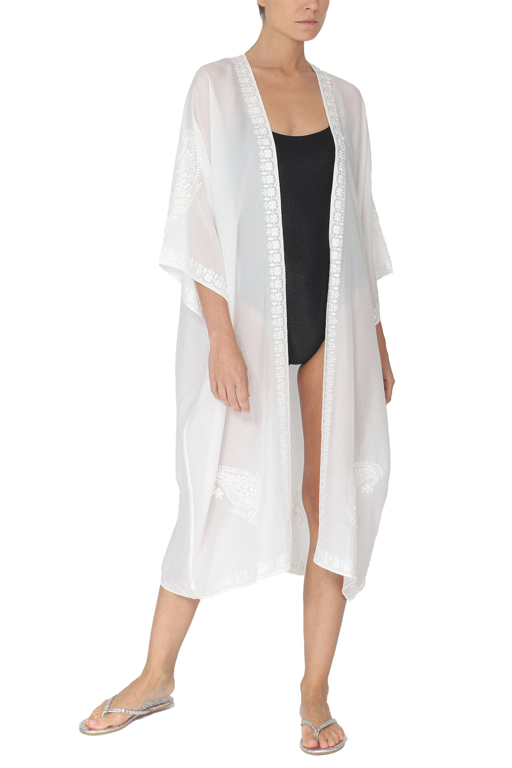 Embroidered Lurex Babani Cover Up - Marie France Van Damme