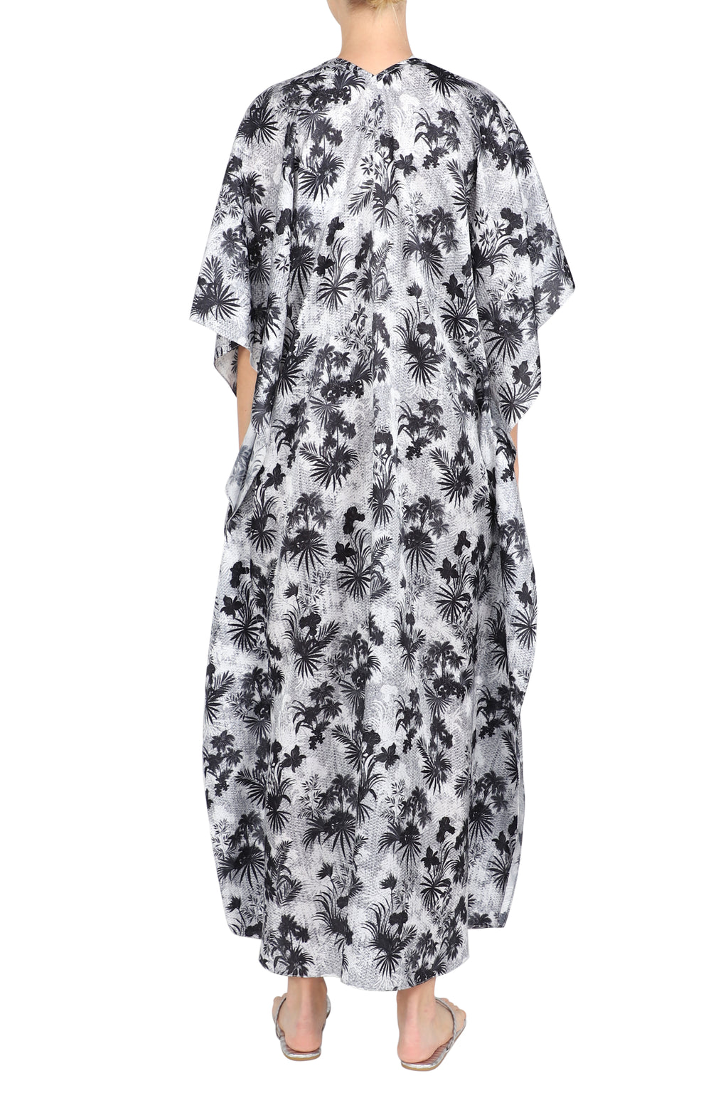 Palm Printed Silk Cotton Boubou Caftan