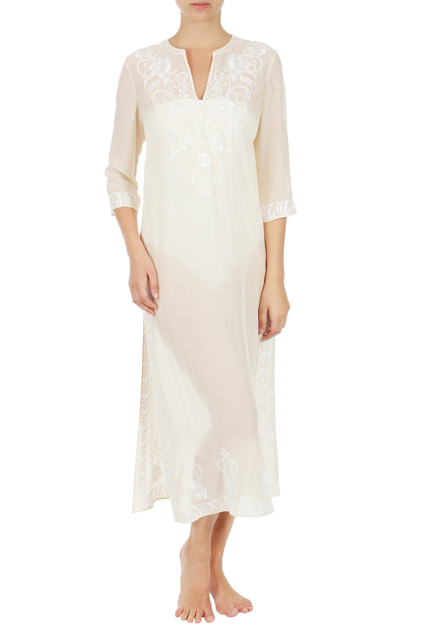 EMBROIDERED LONG SILK CAFTAN - Marie France Van Damme