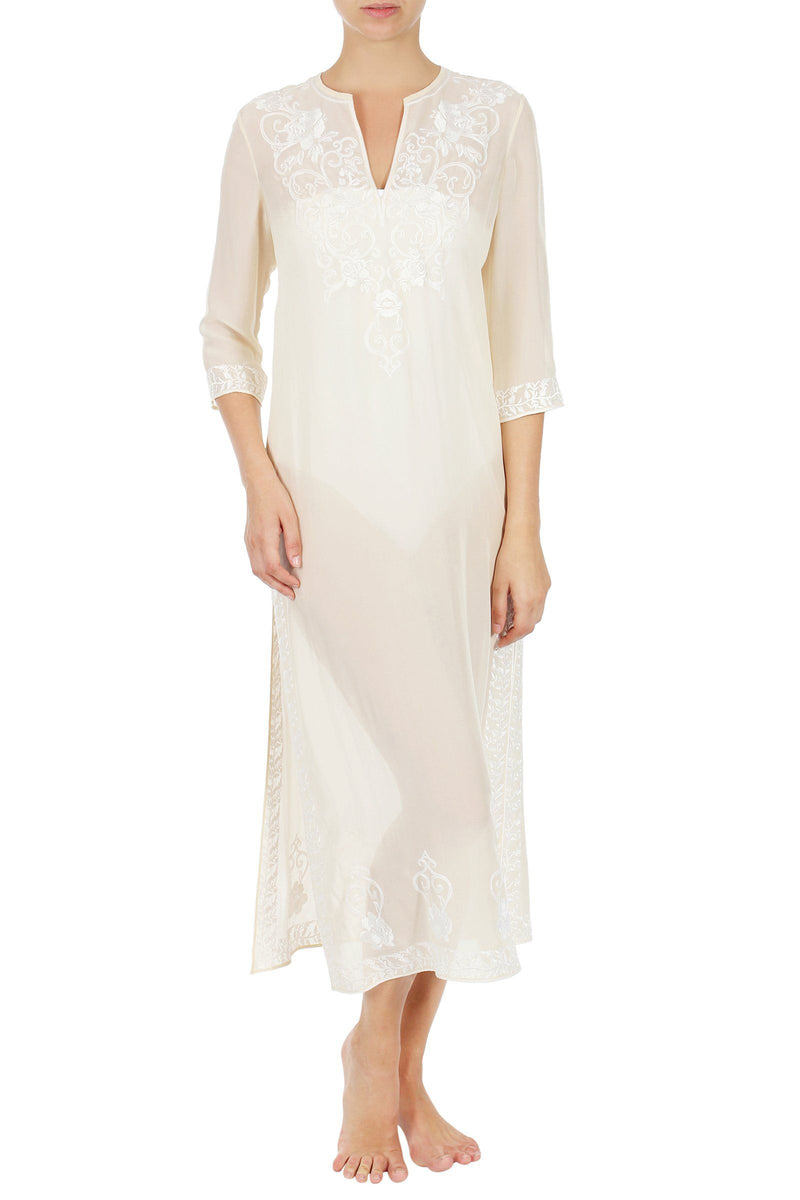 Embroidered Long Silk Caftan