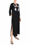 Rose Embroidered Long Hammer Dress
