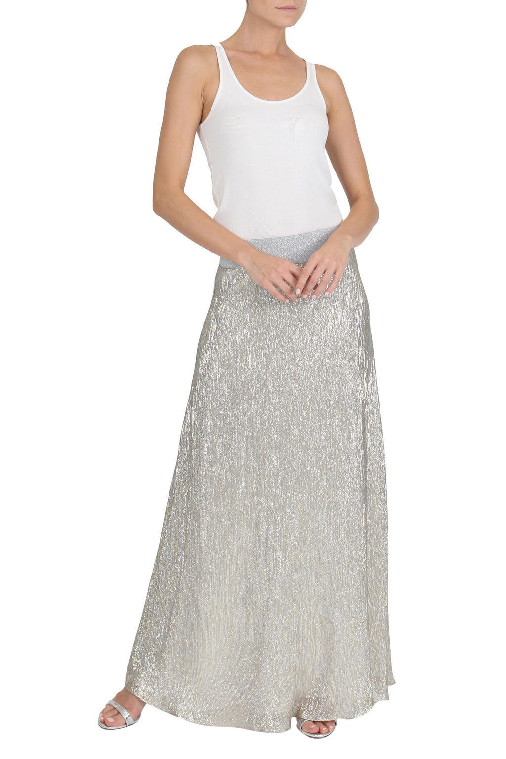 Metallic Lamé Sweep Skirt