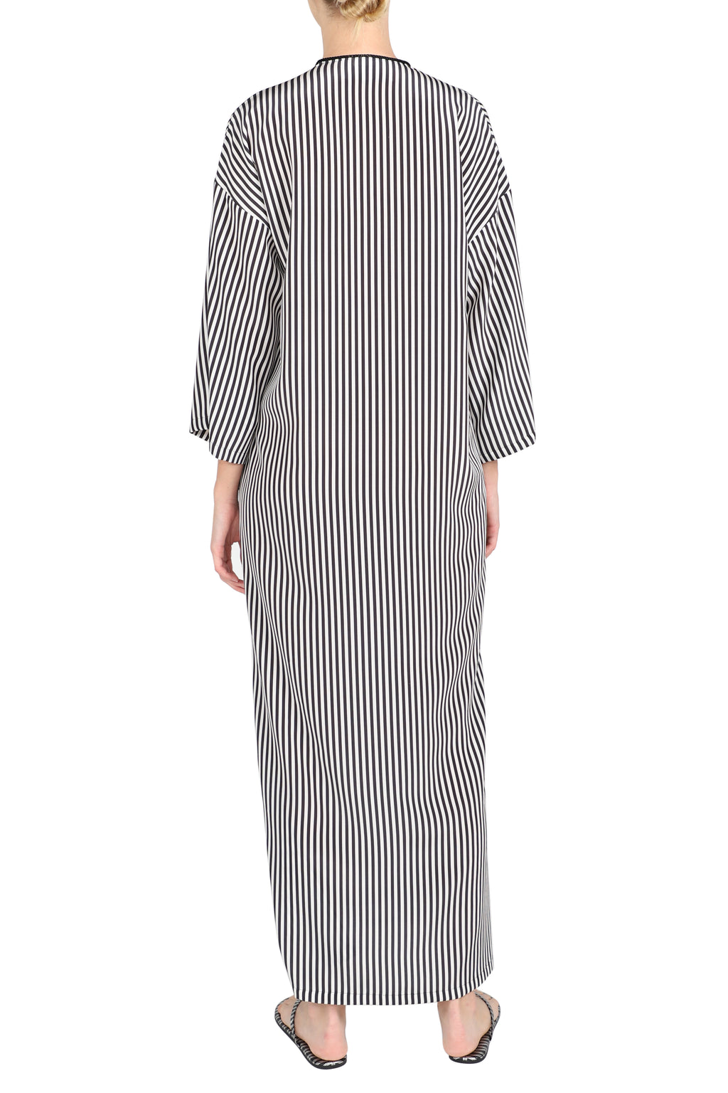 Stripe Silk Crepe de Chine Caftan V Neck Dress