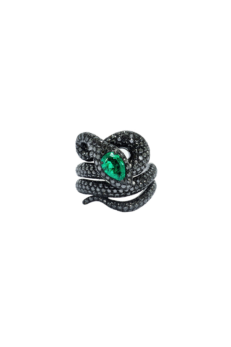 Black Diamond & Emerald Snake Ring
