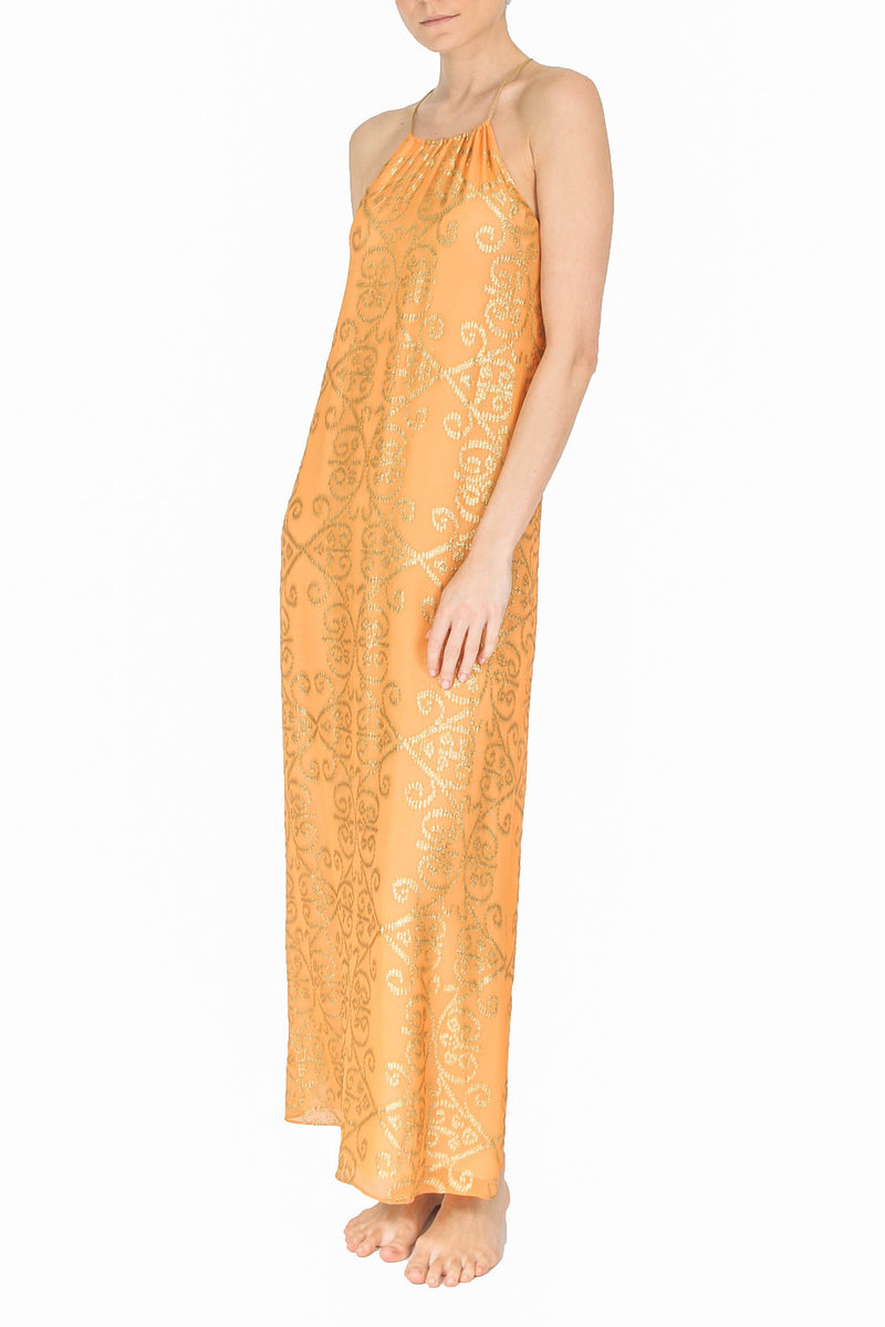 Arabesque Racer Back Dress Dresses Marie France Van Damme 0 Saffron Gold