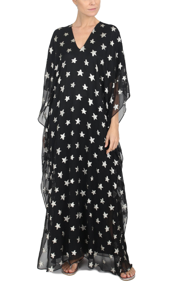 Big Metallic Star Boubou Caftans Marie France Van Damme One Size Black Silver