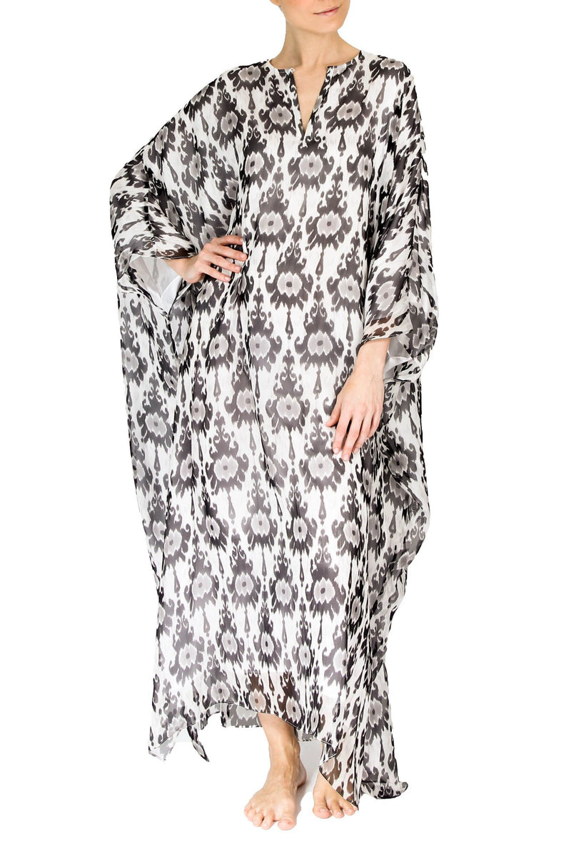 Big Printed Silk Boubou Caftans Marie France Van Damme One Size Zatic Silver