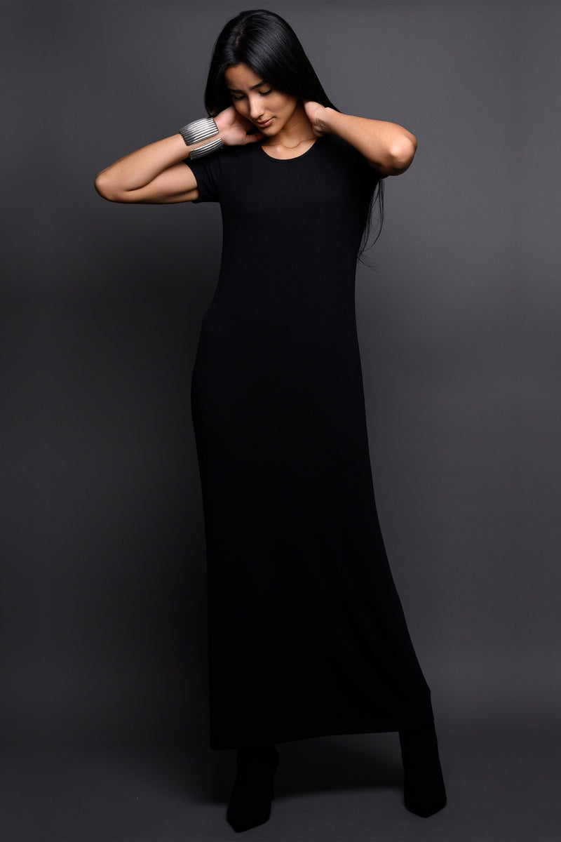 Black Crew Neck Short Sleeve Dress Marie France Van Damme