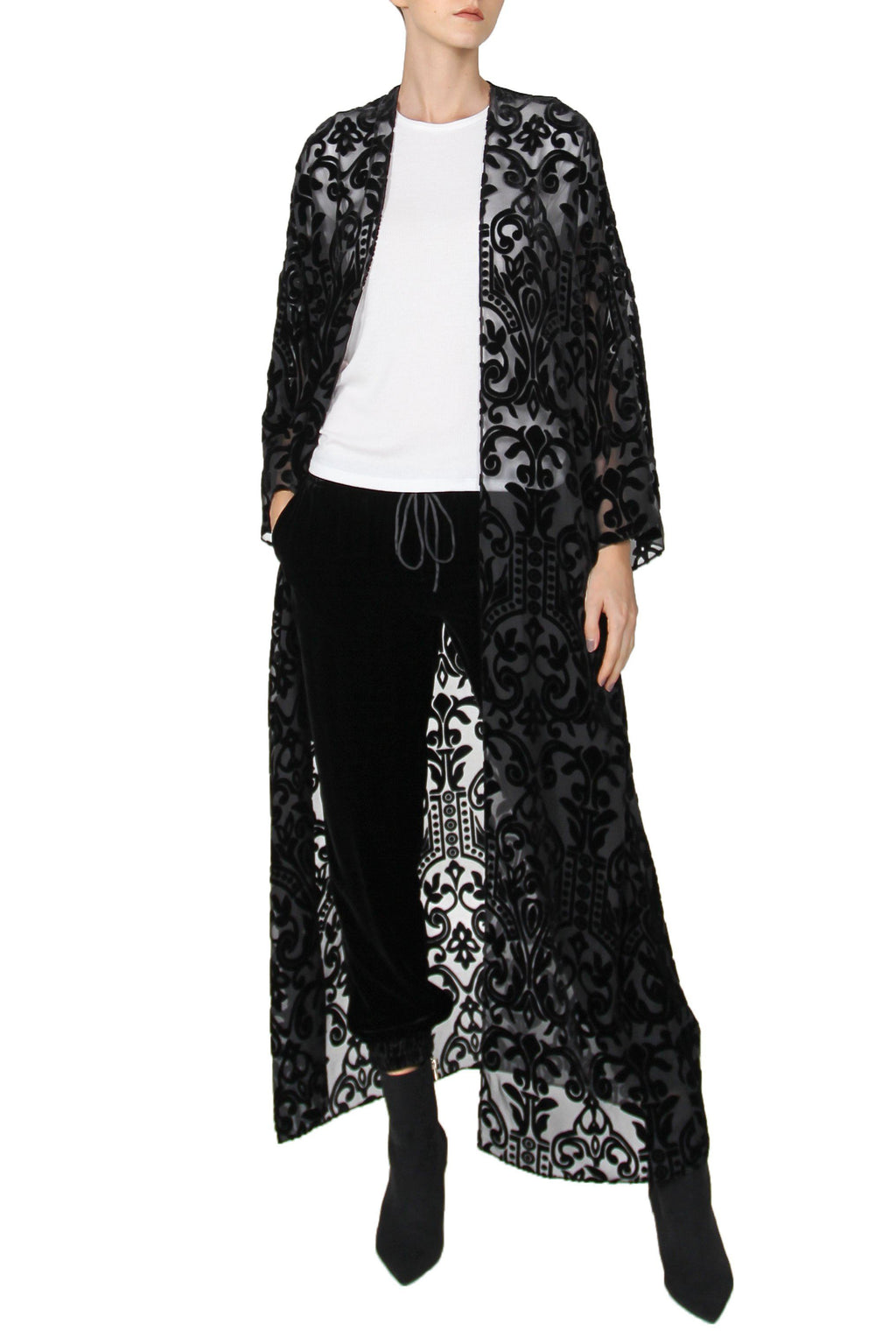 Burnout Velour Cover Up Cover Ups Marie France Van Damme One Size Black