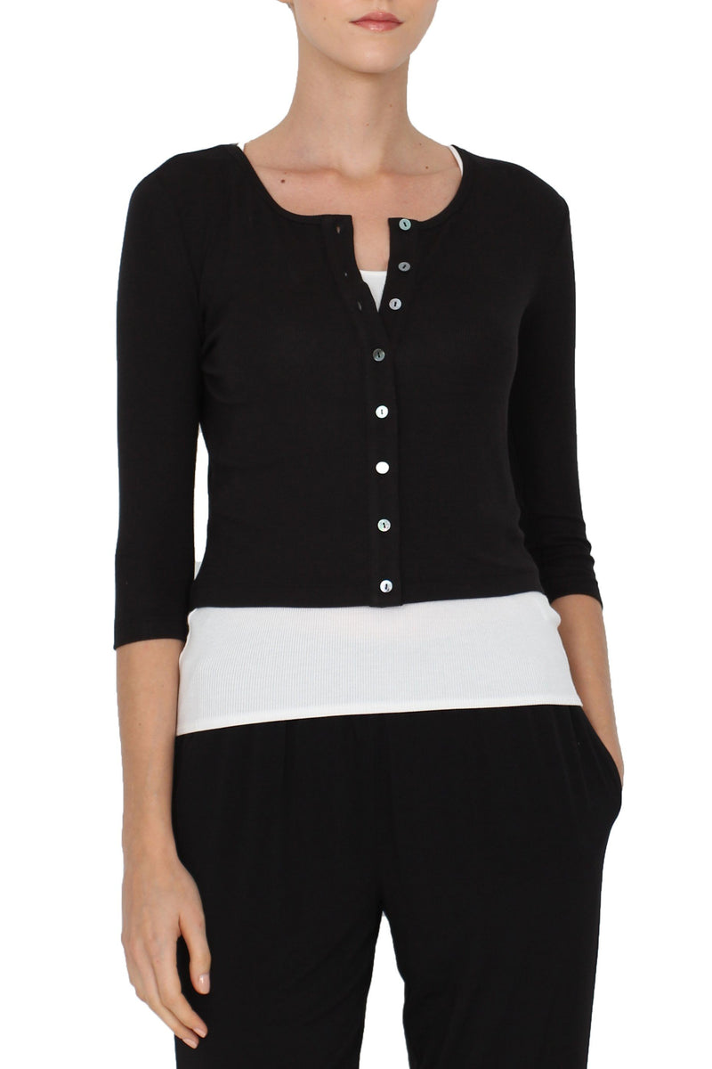 Button Up Short Cardigan Marie France Van Damme 0 Black