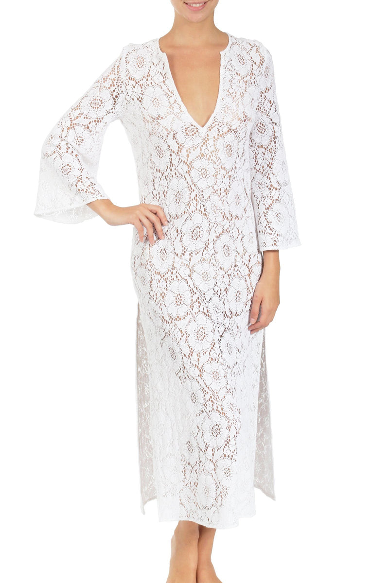 Camellia Crochet Lace Long Tunic Dresses Marie France Van Damme Pure White 0