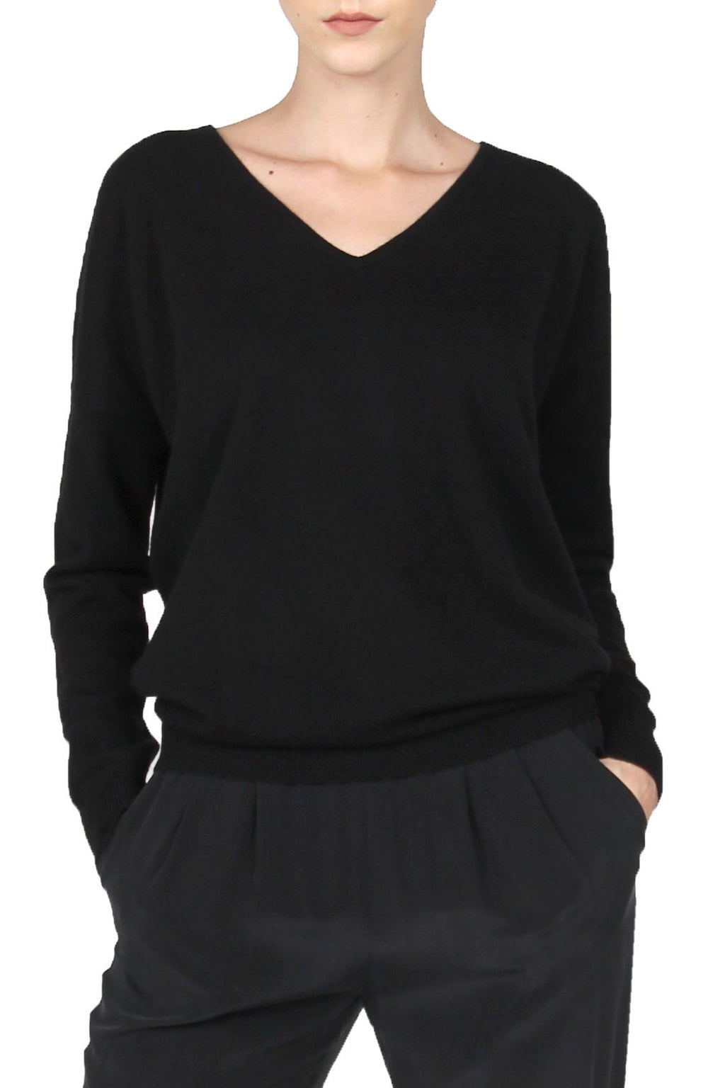 Cashmere Sweater V Neck Marie France Van Damme 0/1 Black
