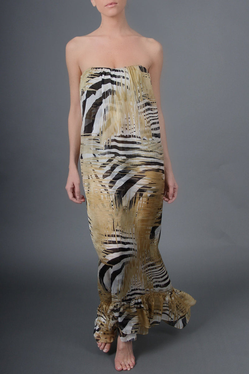 Column Dress Dresses Marie France Van Damme Zebra Gold 0