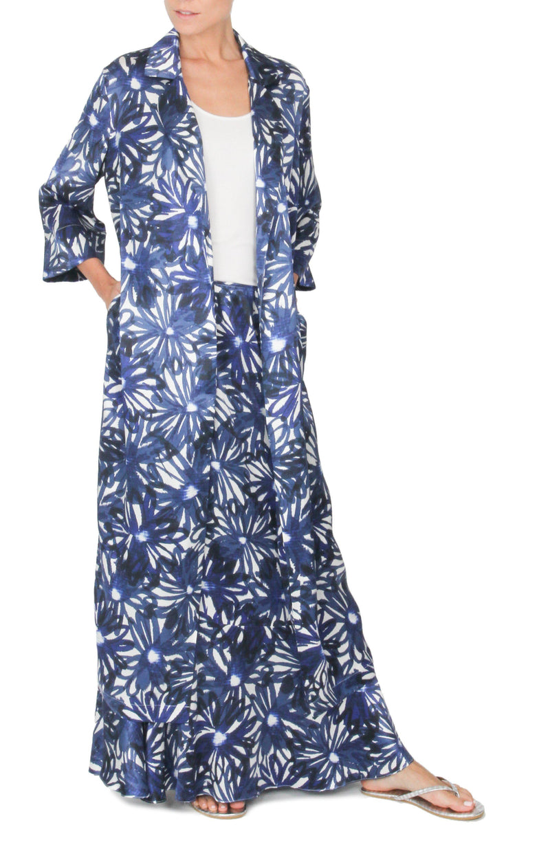 Daisy Print Long Silk Satin Trench Coat Outerwear Marie France Van Damme