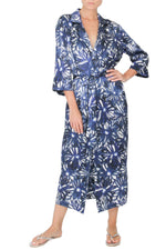 Daisy Print Long Silk Satin Trench Coat Outerwear Marie France Van Damme One Size Blue Black Flower