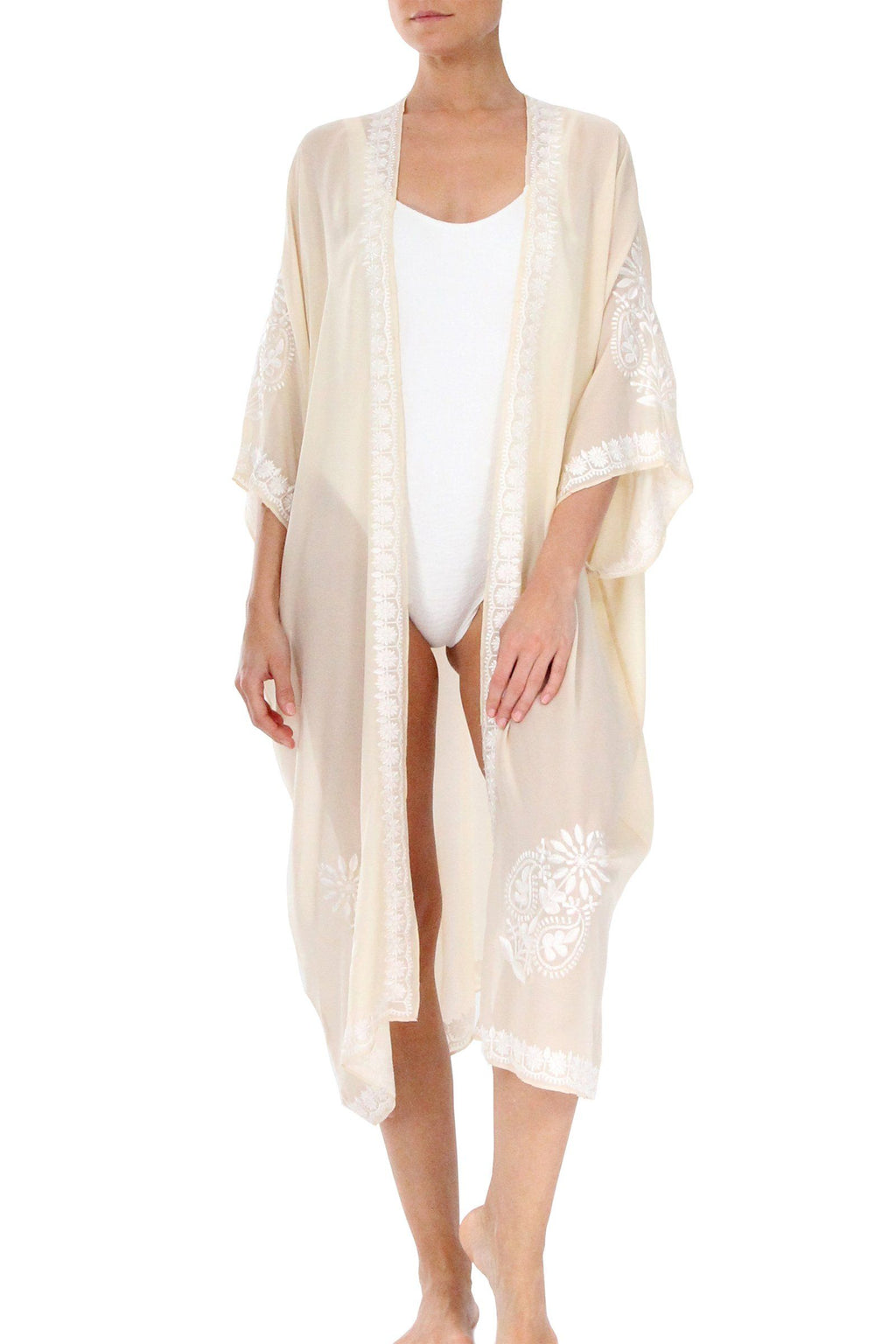 Embroidered Babani Cover Up Cover Ups Marie France Van Damme Gold White One Size