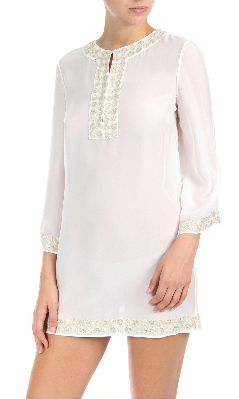 Embroidered Bell Sleeve Tunic Tunics Marie France Van Damme 0 White Gold