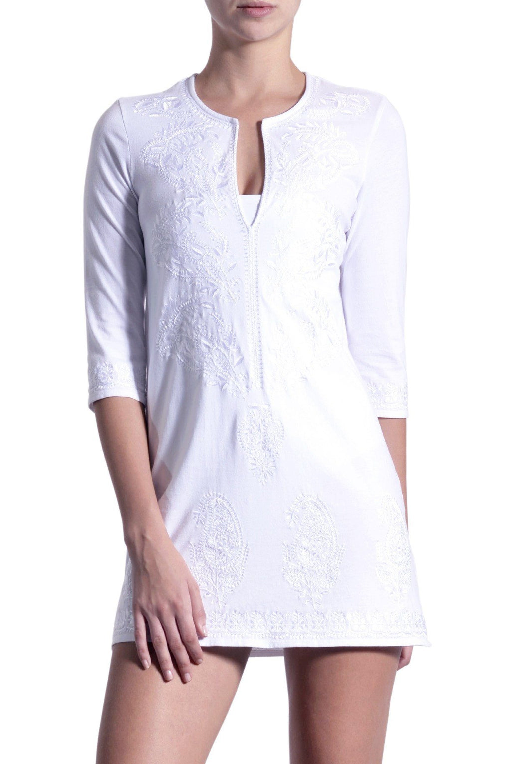 Embroidered Cotton Jersey Tunic Marie France Van Damme 0