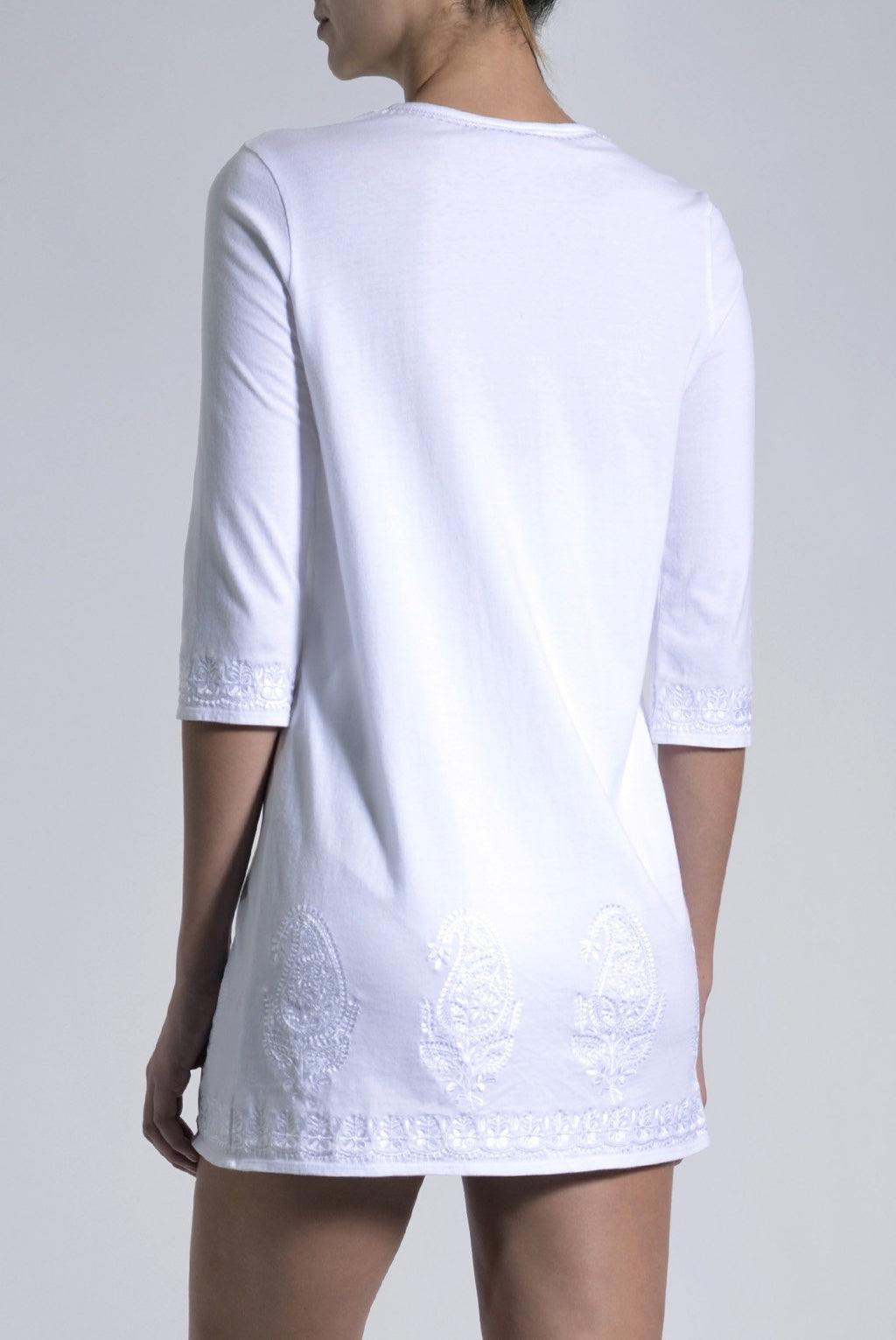 Embroidered Cotton Jersey Tunic Marie France Van Damme