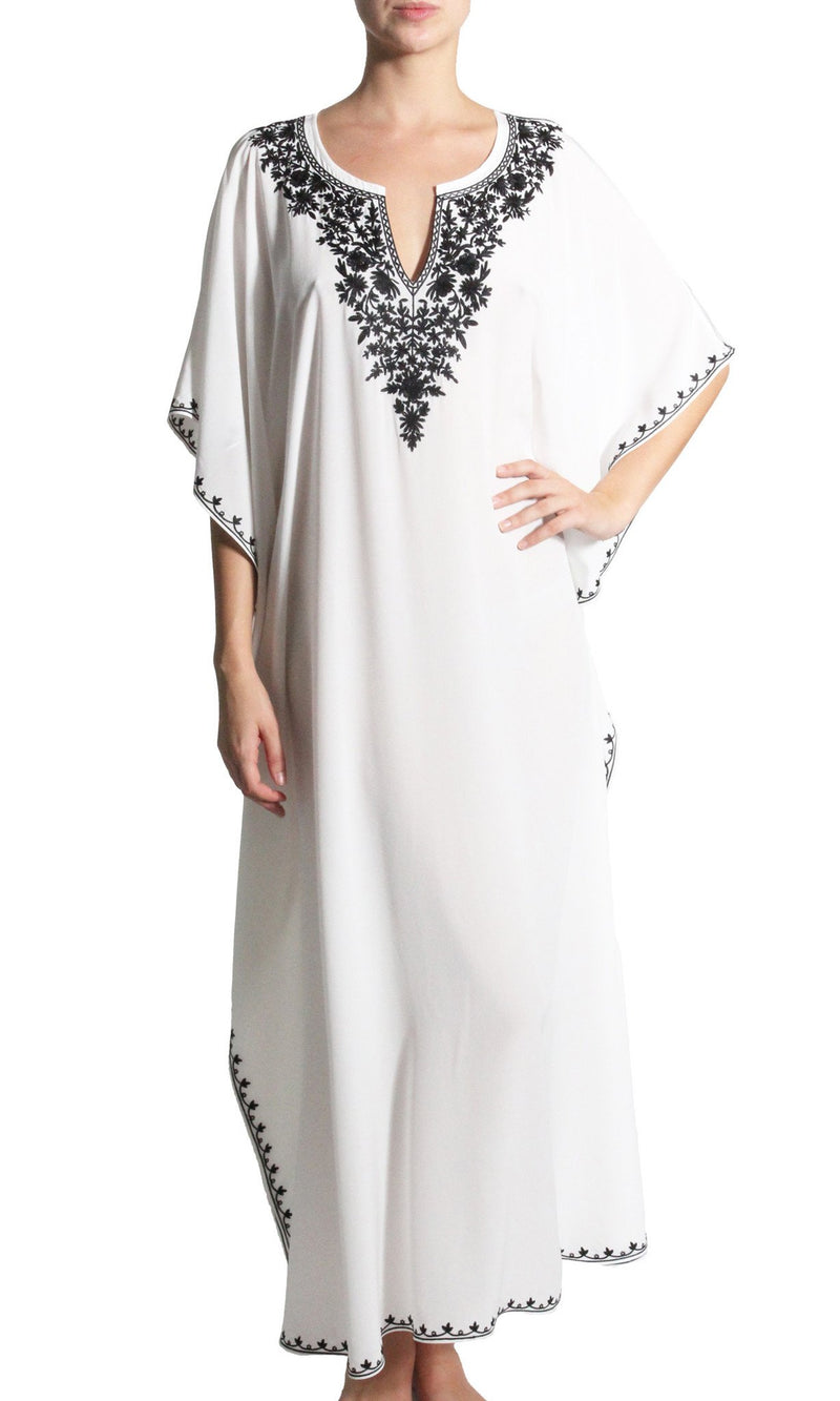 Embroidered Long Silk Boubou Caftans Marie France Van Damme