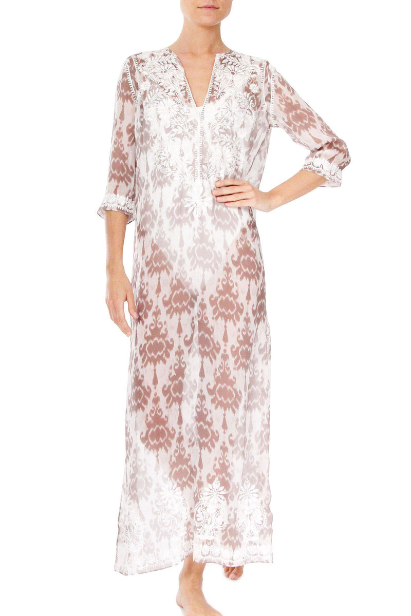 Embroidered Long Silk Caftan Marie France Van Damme 0 Zatic Nude