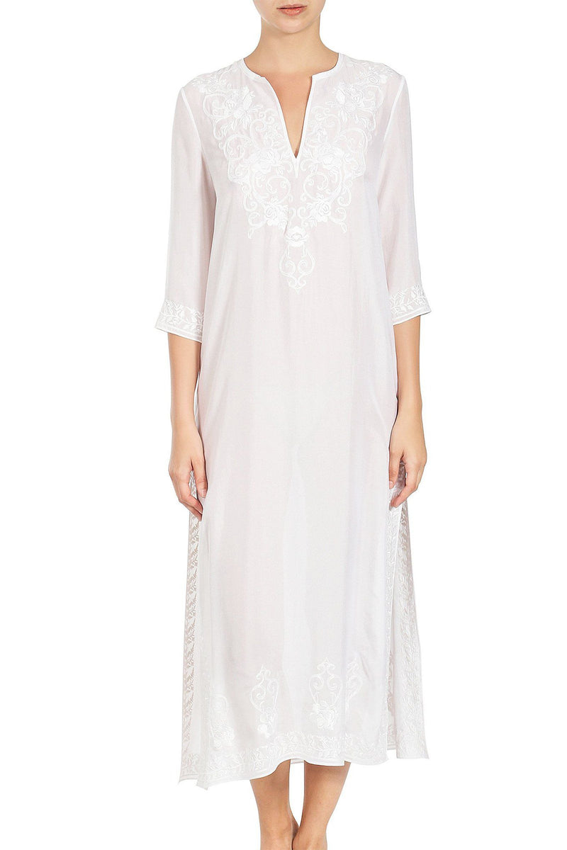 Embroidered Long Silk Caftan Tunics Marie France Van Damme