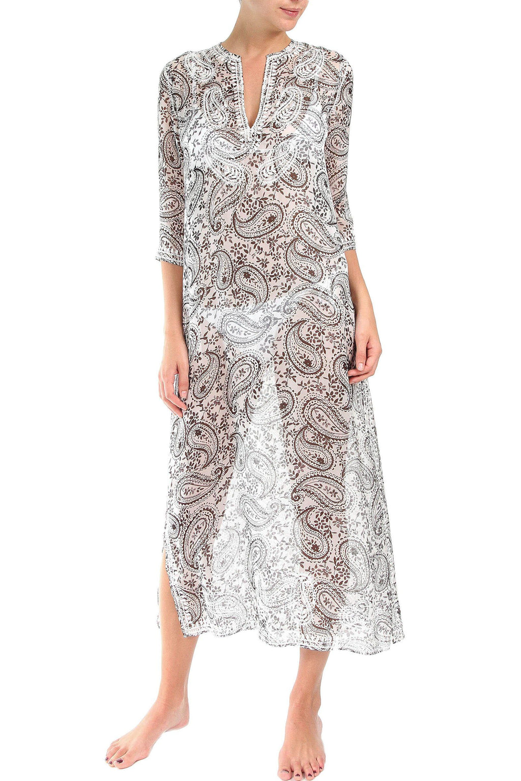 Embroidered Long Silk Chiffon Caftan Marie France Van Damme 0 Paisley Flower White Grey