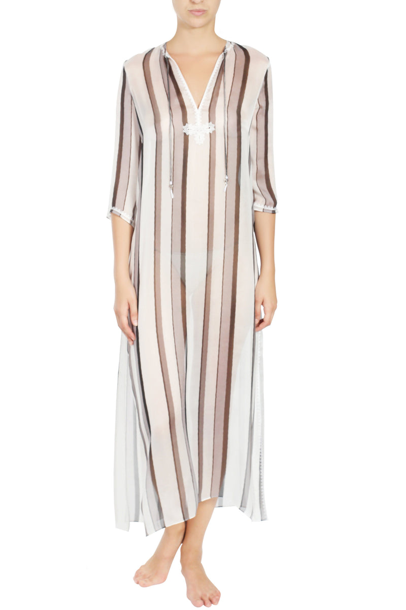 Embroidered Long Silk Chiffon Caftan Tunics Marie France Van Damme 0 Silver Stripes