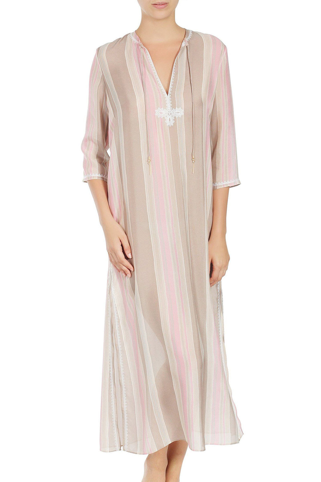 Embroidered Long Silk Chiffon Caftan Tunics Marie France Van Damme