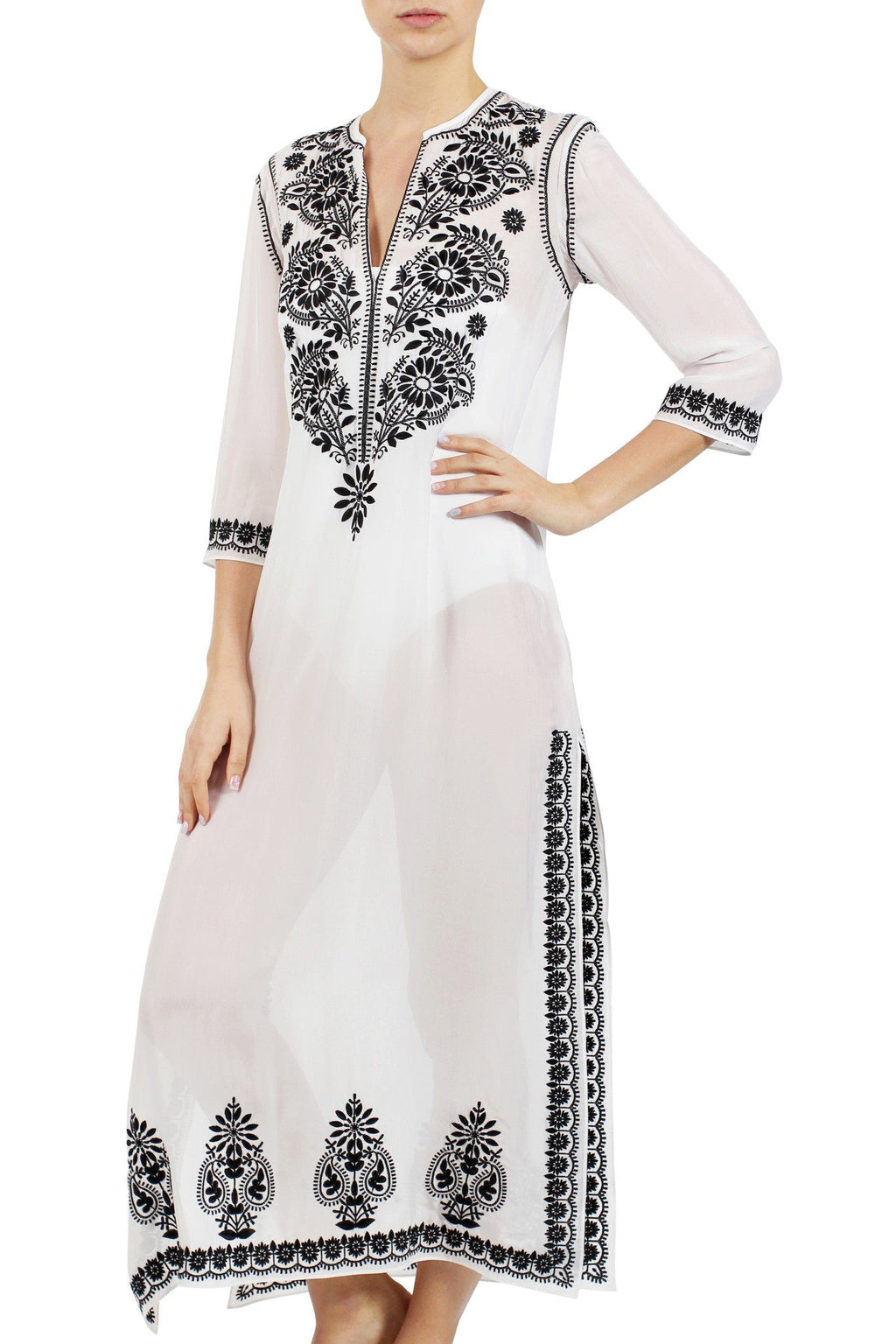 Embroidered Long Silk Chiffon Caftan Tunics Marie France Van Damme White Black 0