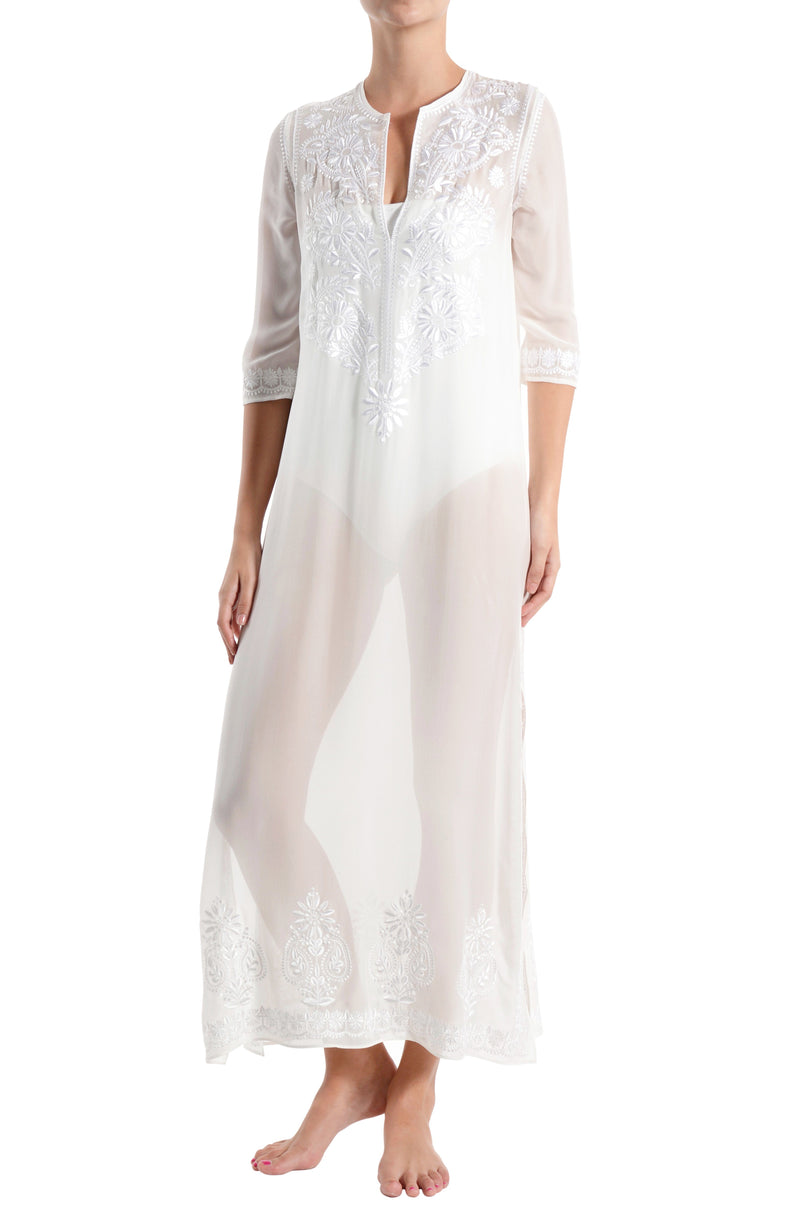 Embroidered Long Silk Chiffon Caftan Tunics Marie France Van Damme White White 0