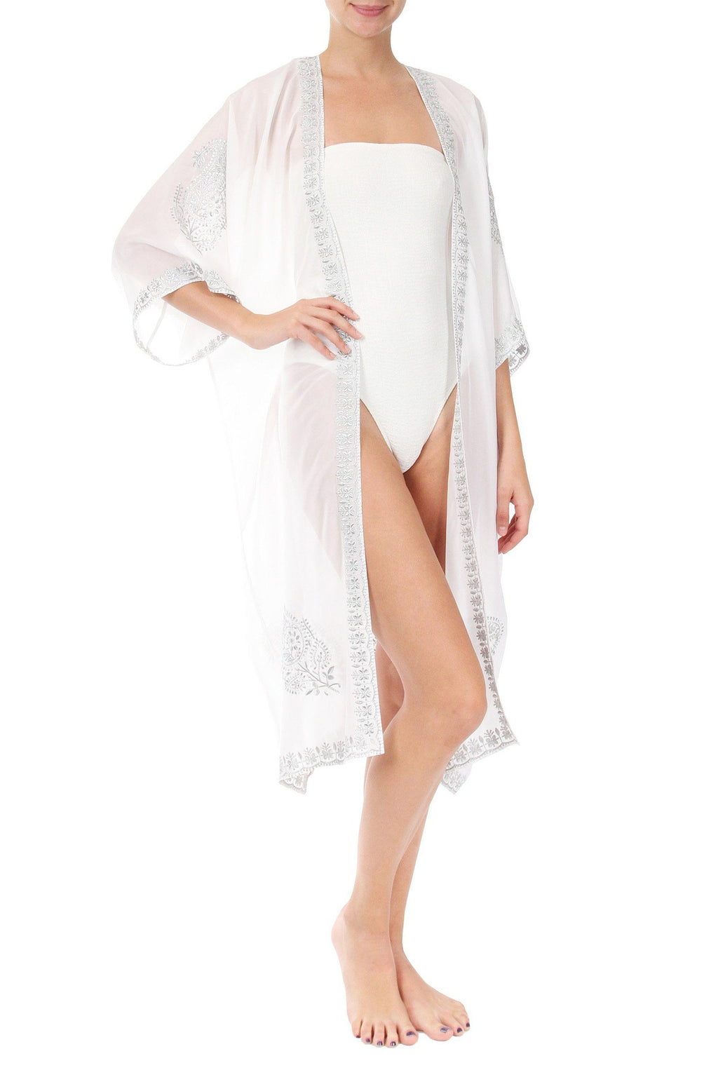 Embroidered Lurex Babani Cover Up Marie France Van Damme One Size White Silver