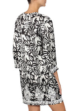 Embroidered Printed Silk Satin Tunic Dress Dresses Marie France Van Damme