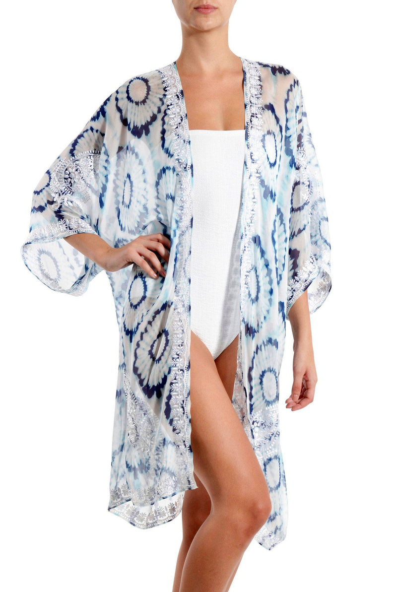 Embroidered Short Babani Cover Up Cover Ups Marie France Van Damme Blue Batik Flower One Size