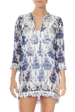 Embroidered Short Tunic Tunics Marie France Van Damme 0 Zactic Blue