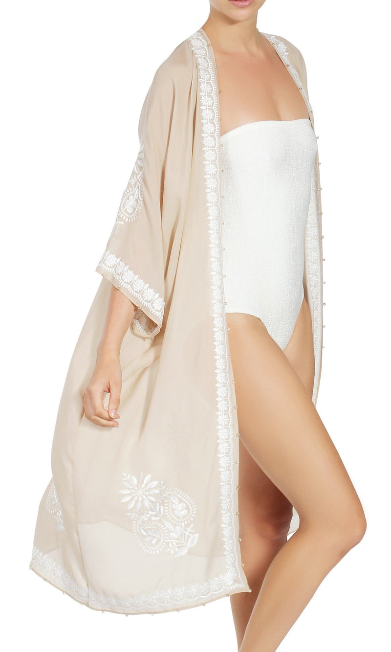 EMBROIDERED SILK BABANI COVER UP Cover Ups Marie France Van Damme One Size Nude White