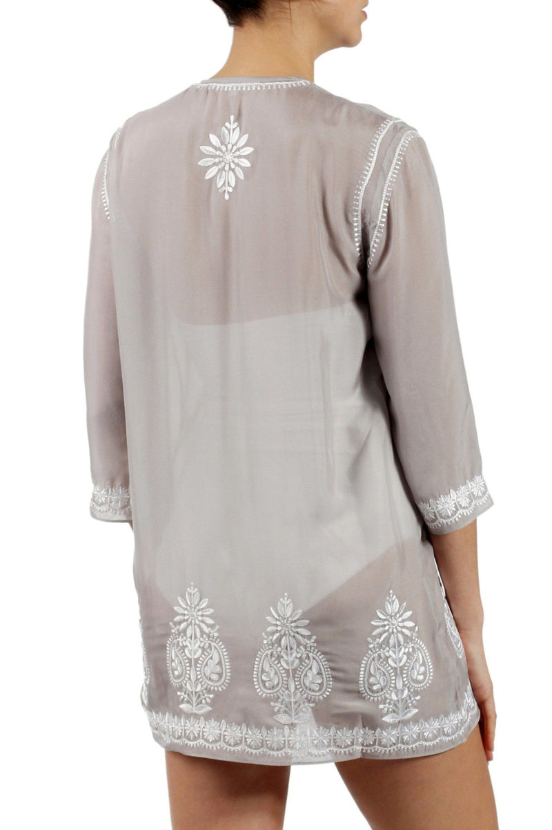 Embroidered Silk Chiffon Tunic Marie France Van Damme