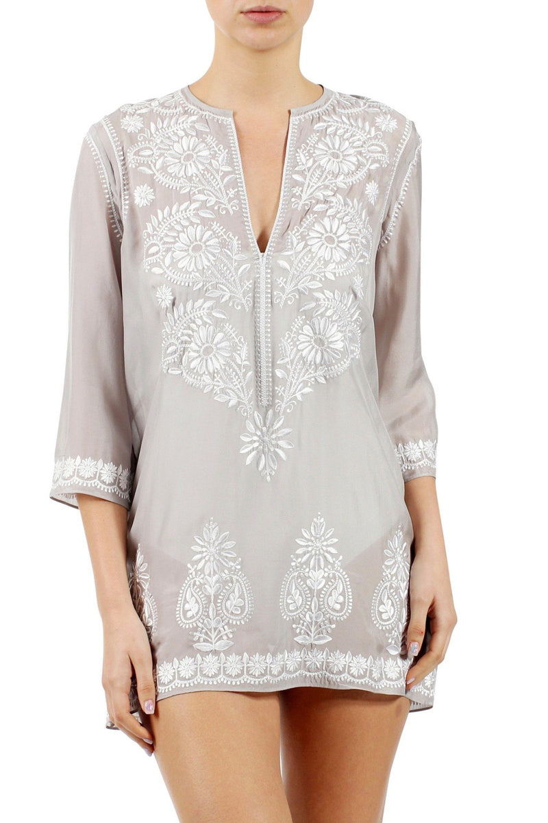 Embroidered Silk Chiffon Tunic Marie France Van Damme Silver 0