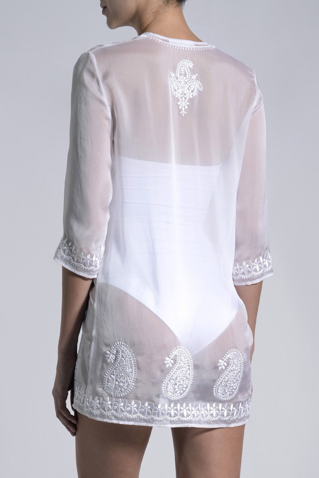 Embroidered Silk Chiffon Tunic Tunics Marie France Van Damme
