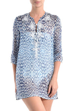 Embroidered Silk Chiffon Tunic Tunics Marie France Van Damme Blue Cloud 0