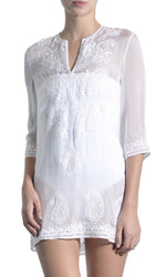 Embroidered Silk Chiffon Tunic Tunics Marie France Van Damme White 0