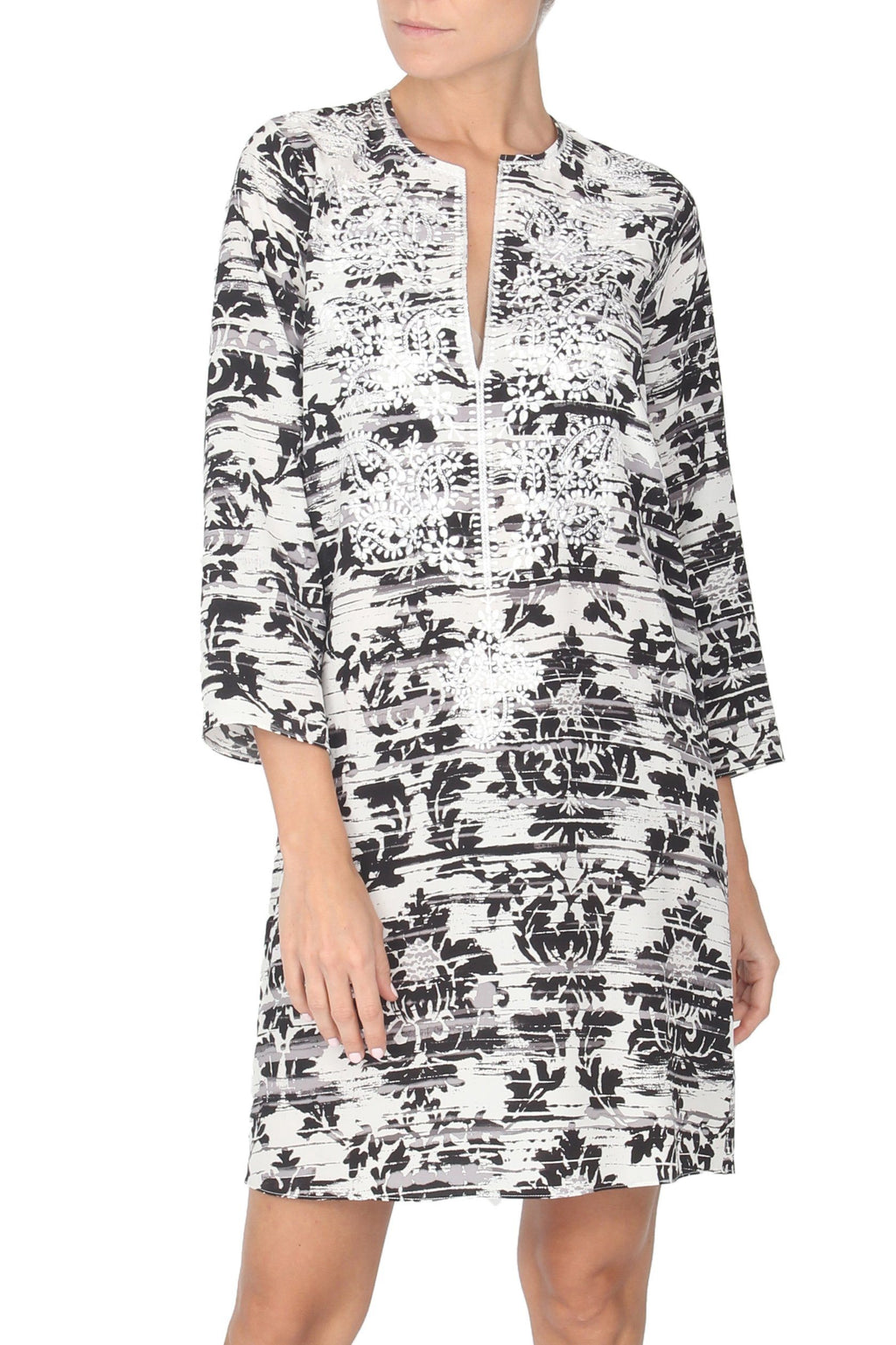 Embroidered Silk Crepe de Chine Printed Dress Tunics Marie France Van Damme 0 Acanthe Silver
