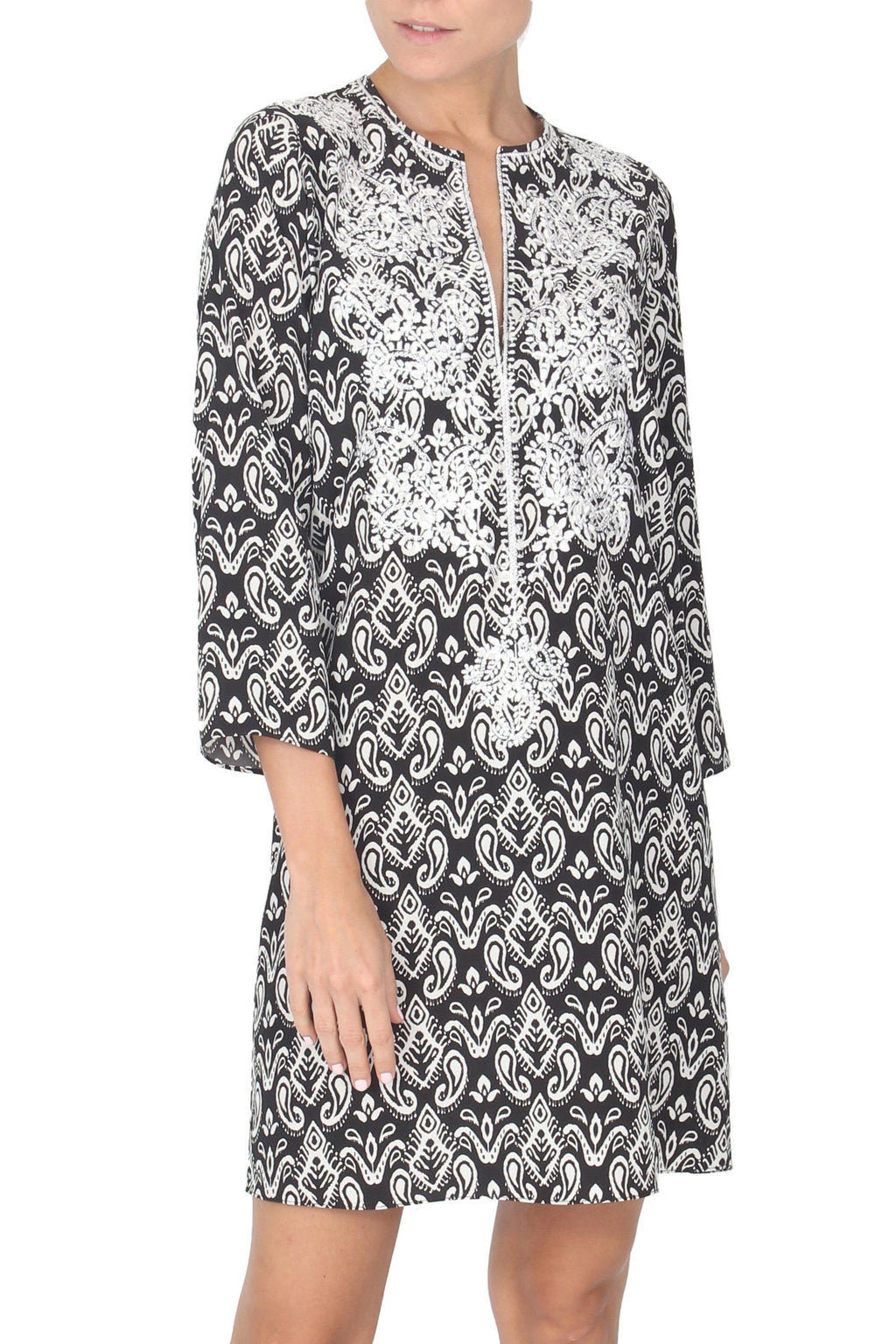 Embroidered Silk Crepe de Chine Printed Dress Tunics Marie France Van Damme 0 Baisley Black White