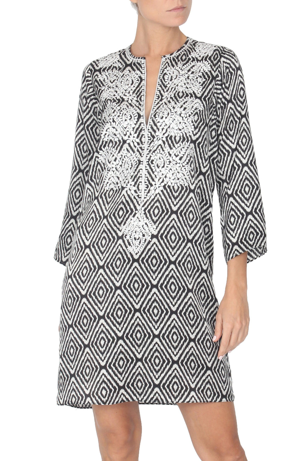 Embroidered Silk Satin Printed Dress Tunics Marie France Van Damme 0 Black & White Ikat