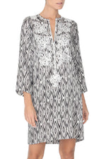 Embroidered Silk Satin Printed Dress Tunics Marie France Van Damme 0 Silver Black and White