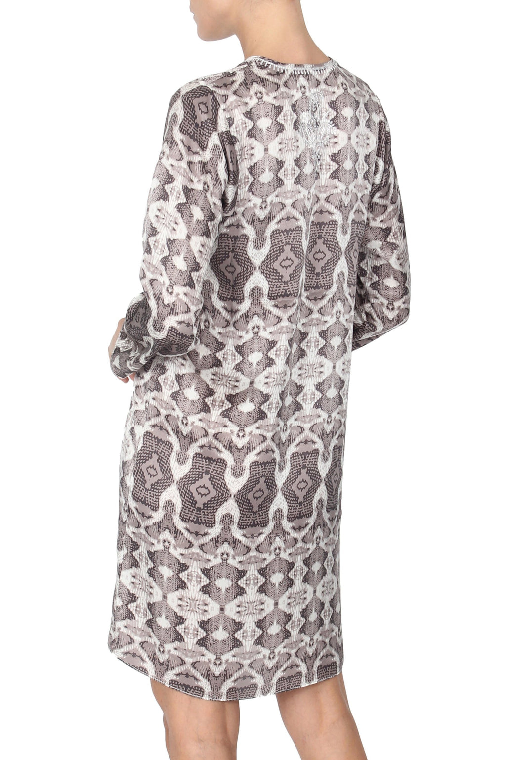 Embroidered Silk Satin Printed Dress Tunics Marie France Van Damme