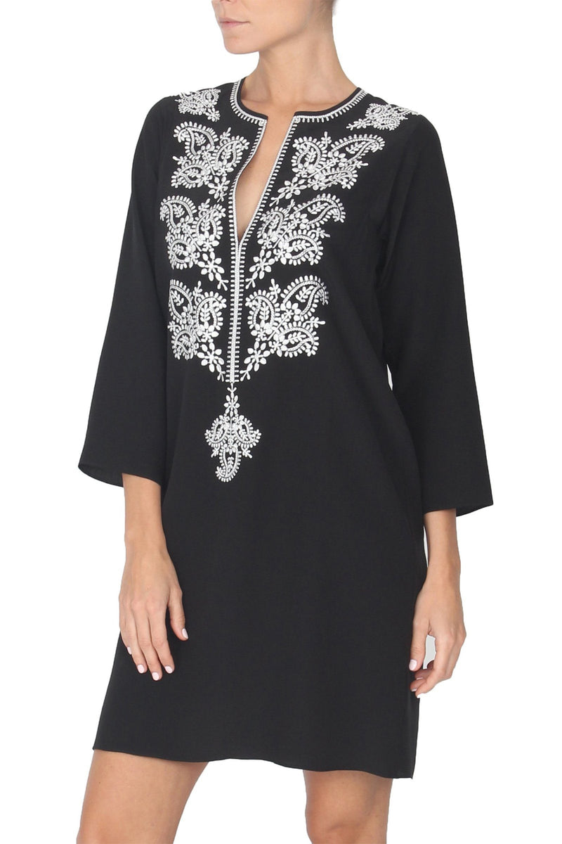 Embroidered Silk Solid Dress Marie France Van Damme 0 Black White