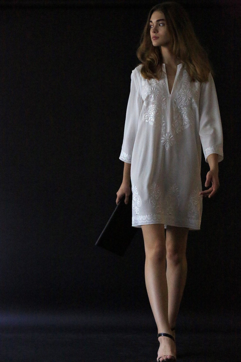 Embroidered Silk Tunic Dress Dresses Marie France Van Damme
