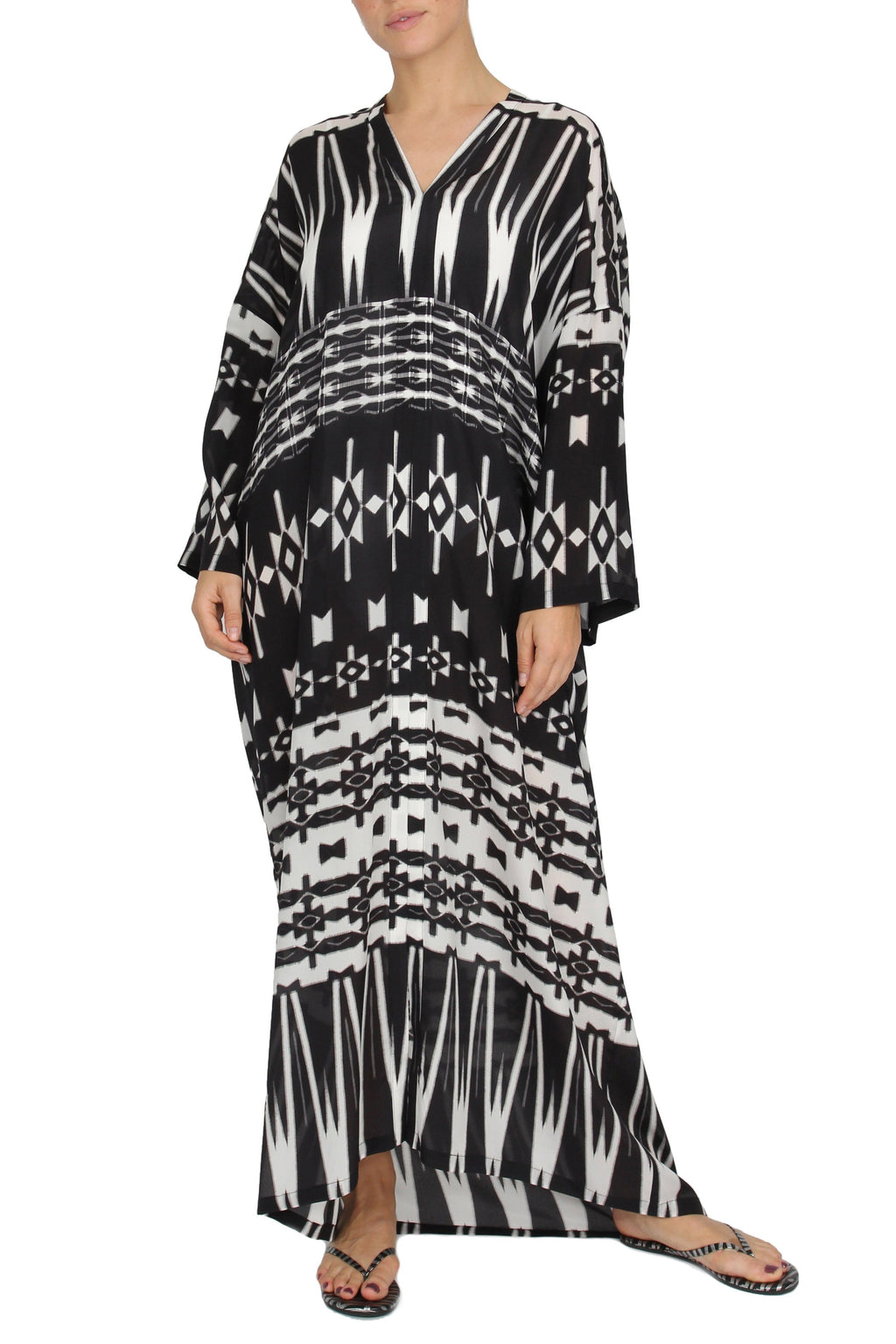Ethnic Printed Sleeve Boubou Marie France Van Damme One Size New Ethnic