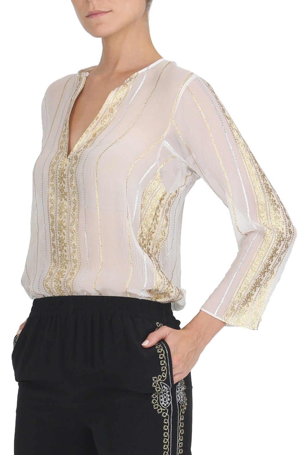 Floral Stripes Embroidery Top Tops Marie France Van Damme 0 White Gold Silver